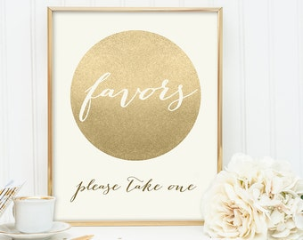 Favors Sign / Please Take One / Gold Sparkle Wedding Sign DIY / Metallic Gold and Cream / Champagne Gold ▷ Instant Download JPEG