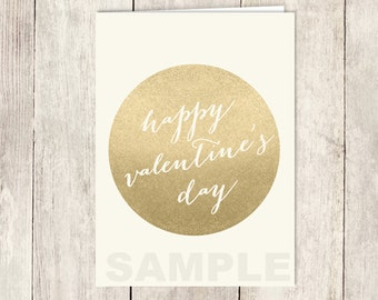 Gold Valentine's Day Card DIY / Gold Sparkle Card / Metallic Gold and Cream / Happy Valentine's Day / PRINTABLE PDF ▷ Instant Download