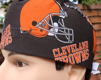 Scrub, Surgical or Head Cover for Men made from Cleveland Browns fabric