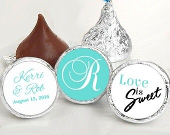 108 Hershey Kiss® Stickers - Love is Sweet - Candy Labels - Names and Date  - Monogram Wedding Favors - Wedding Decor - Kiss Seals
