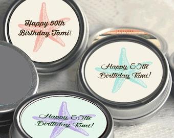 Birthday Mint Tins - Starfish Birthday - Birthday Decor - Milestone Birthday - 12 Personalized Birthday Favors