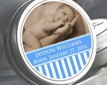 12 Personalized Perfect Picture Blue Stripes Baby Shower Photo Mint Tin Favors  - Baby Shower Photo Favors - Baby Shower Favors