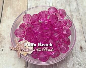Twenty (20) pcs- 12mm Transparent Faceted HOT PINK Beads