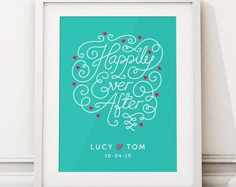 Unique Wedding Gift For Couple, Wedding Present Personalised, Wedding Gift Ideas, Bride Groom Gift, Happily Ever After Print (unframed)