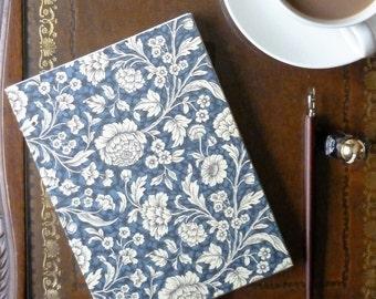 Hand bound blue floral notebook - sketchbook - journal, A5, Coptic bound