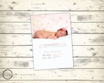 Girl's Baby Blessing Announcement with Photo | LDS Baby Blessing Invitation | Simple Baby Announcement with Picture | Digital Printable