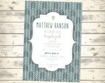 LDS Baptism Invitation, Mormon Boy's Girl's Baptism Announcement, Blue Gray Arrow Design, Digital Printable