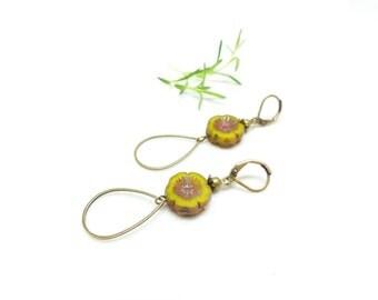 Hawaii Flowers, earrings retro, Pearl yellow flower
