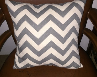 Square Throw Pillow- Grey and Baige Chevron