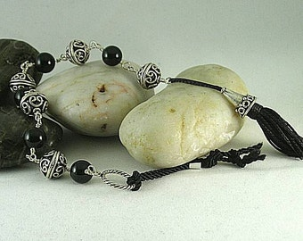 Black Onyx and Silver Tenner with Cone Tassel - Chaplet - Paternoster