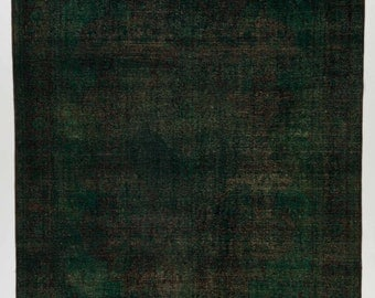 "9'8""x13'6"" Dark Emerald Green Overdyed Rug 