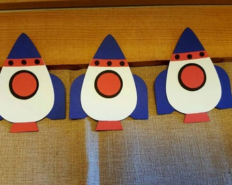 Rocket ship Die Cut Set of 3, Space Ship Die cuts, Space Theme Party