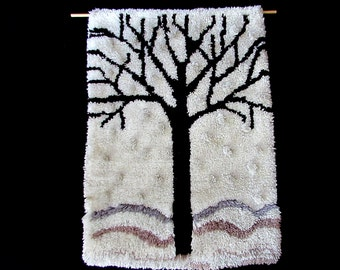 """70s 80s rya trees landscape woven shag wall hanging rug 