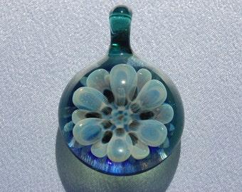 Aquamarine Sliver Flower Pendant