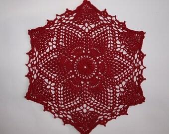 Red table decor Lace bedroom living room decor Crochet hexagonal doily for sale Gift for grandma Hand crochet napkin 10 inches diameter