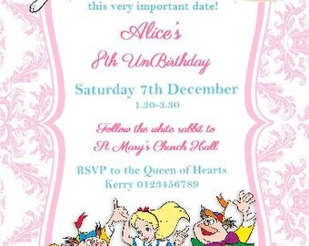 Printed Personalised Alice in Wonderland Birthday Party Invitations X10