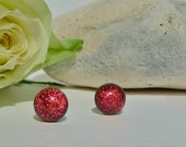 Dichroic glass studs. Sterling silver studs. Fused glass studs. Fused glass Jewelry. Red studs. red earrings. red glass studs
