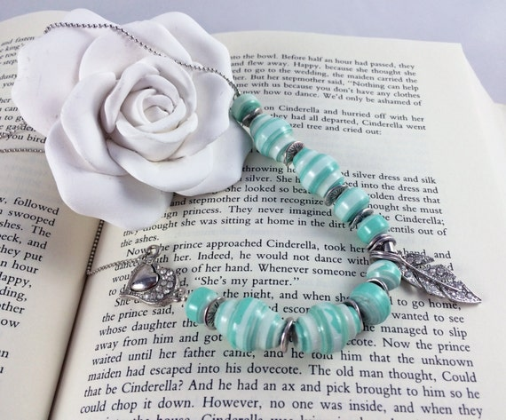 Mint Green and White Paper Bead Necklace. Silver-toned Leaf Pendant with Swarovski Crystals. Matching Earrings.