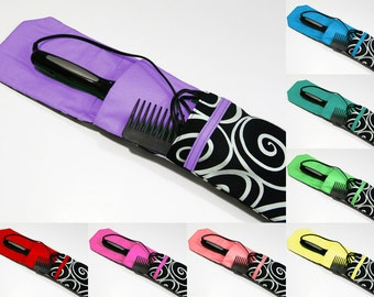 Insulated Curling Iron, Flat Iron, Hair Iron Travel Case in a Black and White Scroll Fabric with 8 Color Choices