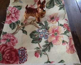 """Vintage Floral Textured Cotton Upholstery Fabric 1990's """"Springtime"""" by DuPont Stain Resistant Screen Printed"""
