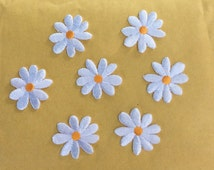 """ONE Daisy  white  iron on Patch  embroidered  1"""""""