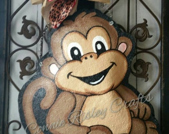 Monkey Burlap Door Hanger Decoration or Wreath
