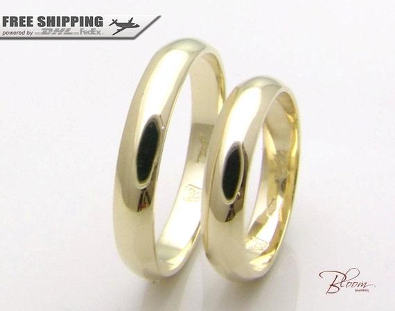 Plain Wedding Band Gold Couple Rings Set Gold Couples Ring