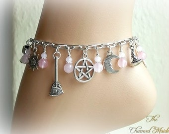 Rose Quartz Wicca Charm Anklet, Wiccan Anklet, Witch Ankle Chain, Pagan Ankle Bracelet, Pink Anklet, Beach Jewellery, Pentacle, Pentagram
