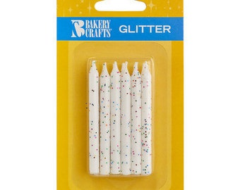 "12  White Glitter Birthday Candles 2.25"""