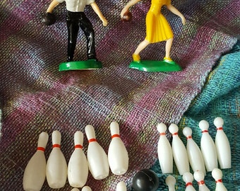 Set of Vintage Bowling Cake Toppers, Decorations