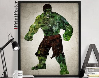 Hulk poster, The Hulk print, Superhero posters, Marvel prints, Art, Heroes Illustrations, Abstract, Wall art, Artwork, Comic poster, Gift