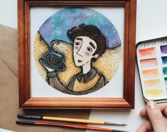 the cosmic tea (original watercolor illustration)