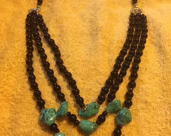 Recycled Three Strand Turquoise Necklace