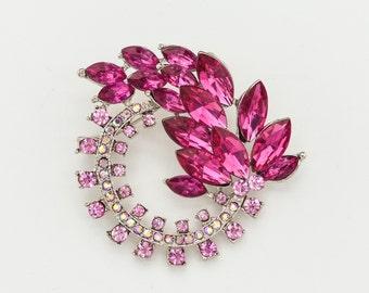 Pink Crystal Rhinestone Brooch Pink Brooch Wedding Brooch Pink Bridal Brooch Wedding Accessories Bouquet Brooch Pink Brooch