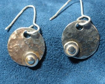 Sterling Silver Small Hammered Disk Earrings