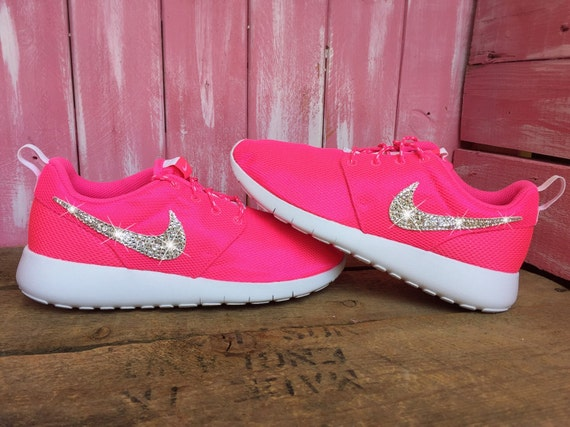 1858da09e5d6c durable service Blinged Preschool Swarovki Nike Roshe Shoes Pink by  ShopPinkIvy