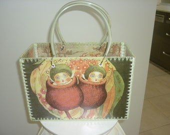 Retro style bag with Gum nut images just like made in the 50-60's.