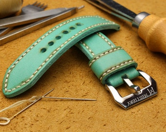 Mestiery 100% Handmade Leather Watch Bands For 38mm Apple Watch Turquoise Green with Vintage Style