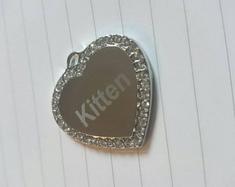 Engraved personalised pet tag silver or gold bone or heart for collars, charms