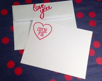 Valentine's Day Cards/Cutie Pie Flat Correspondence Cards - Red and White - Set of 8