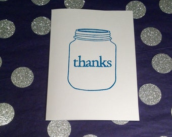 Mason Jar Thank You Note Cards and Envelopes - Blue and White - Set of 8
