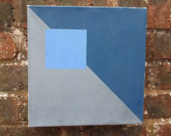 Square Blue and Grey abstract oil painting