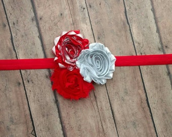 Red, silver and shimmery red shabby flower headband for baby, toddler and adult