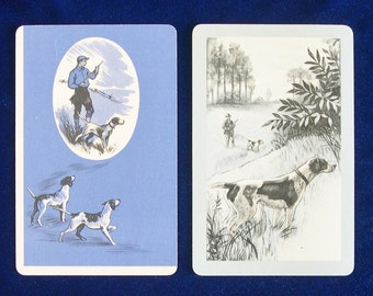 Two 1950's English Pointer Dog Art Playing Trading Cards Valentine Gift!