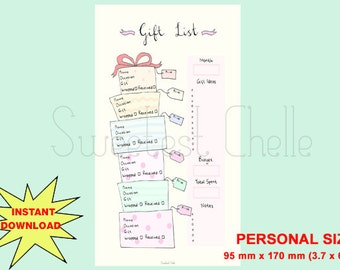 Cute Printable Personal Size Page - Gift List - Gift List Tracker - Gift Planner - Christmas Gift List - Birthday Gift - Budget Planner