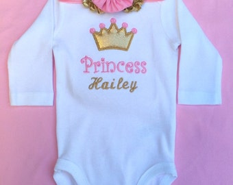 Crown applique shirt with name and headband, princhess monogram shirt