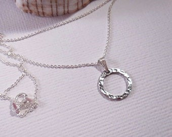 Sterling Circle Necklace, Hammered Sterling Circle Necklace, Sterling Rolo Chain, Layering Necklace, Minimalist Necklace, Bridesmaid Jewelry