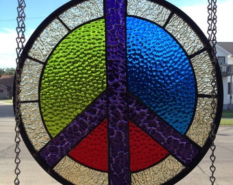 Stained Glass Peace sign, colored and textured art glass