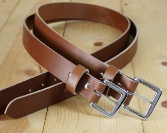 "Handmade Genuine Buffalo Leather Belt_1.25"" Men's Leather Belt_Light Brown"