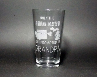 Best Grandpa Glass - Grandpa Gift - Long Distance Grandpa Gift -The Best Dads are Promoted - Dad Gift - Best Dad Gift